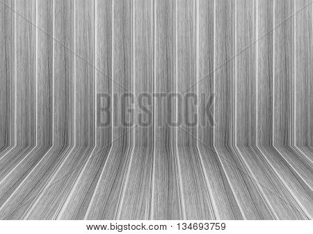 Perspective lines of black and white wooden floor stock photo