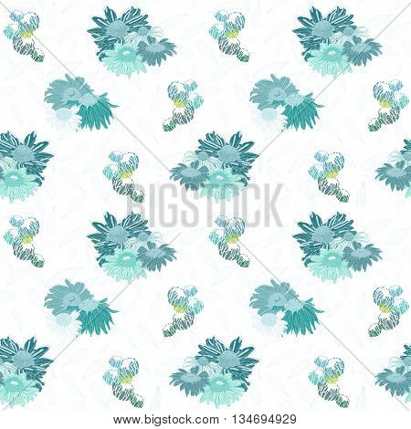 Blue Daisies on a White Background - Seamless Pattern