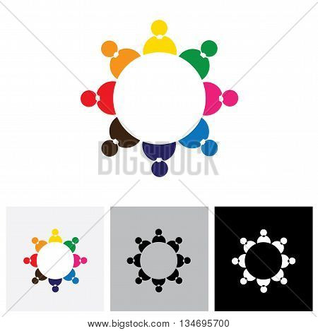 Company Employees Or Staff Members Together As A Team - Vector Logo Icon