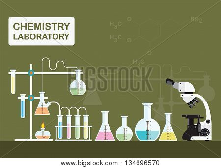 Chemical laboratory science with microscope technologyScience education chemistry experiment laboratory concept vector illustration.