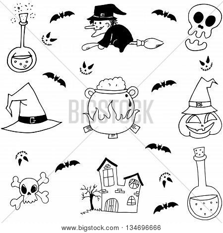 Stock element halloween doodle with hand draw