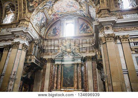 ROME, ITALY - APRIL 8, 2016: Interior of the San Marcello al Corso church, 18th century