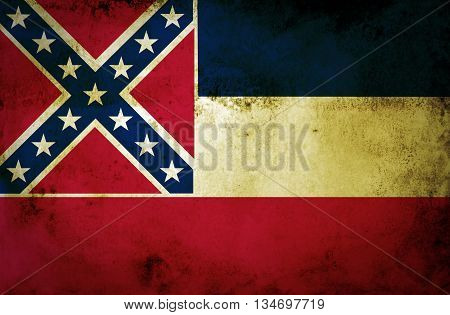 Mississippi State Flag on old paper texture background