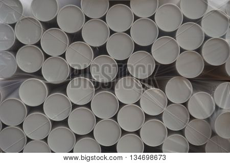 stack of paper cylinder with the plastic wrape