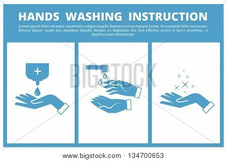 Hands washing medical instruction. Care to hygiene instruction and wash hand sanitary of instruction. Vector illustration poster