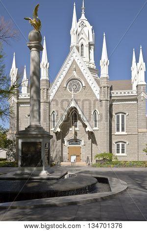 Mormon assembly hall church Salt Lake city in Utah.