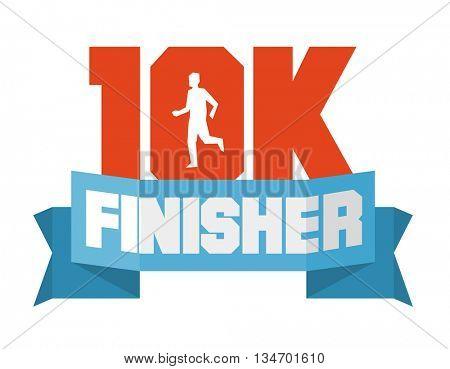 10k running finisher. Flat vector illustration.
