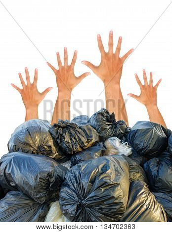 Group of hand showing fist on white background, fist gesture, fist ready for fighting concept.