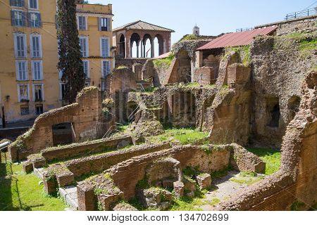 ROME, ITALY - APRIL 8, 2016: Market ruins of Emperor Trajan Forum 106 - 112 AD AD, measuring 300 metres (980 feet) long and 185 metres (607 feet) wide