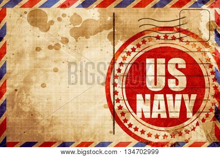 us navy, red grunge stamp on an airmail background