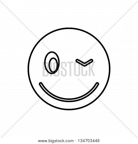 Eyewink emoticon icon in outline style isolated on white background