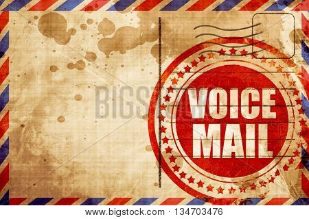 voice mail, red grunge stamp on an airmail background