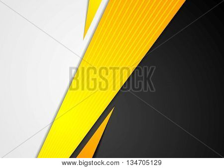 Black and orange corporate tech striped graphic design. Vector background