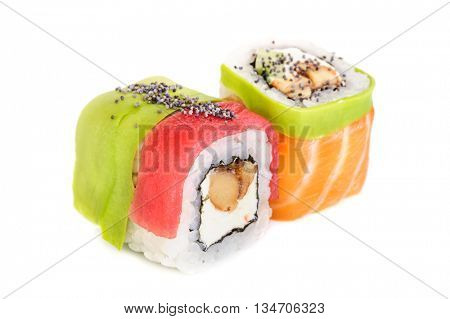 Uramaki maki sushi, two rolls isolated on white. Salmon with philadelphia, shrimp, avocado, eel and poppy seeds