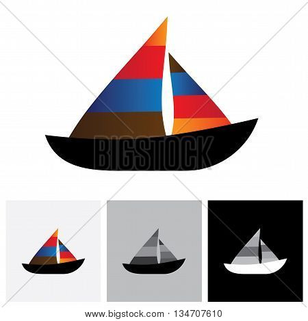 Colorful Sailboat Or Yacht Vector Logo Icon
