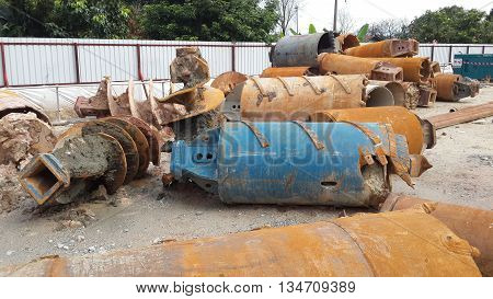 JOHOR, MALAYSIA -APRIL 02, 2015: Bore pile rig auger at the construction site in Johor, Malaysia. The bore pile rig machine used this auger during drilling soil for the foundation work.