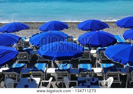 Nice France - april 19 2016 : parasol on the beach
