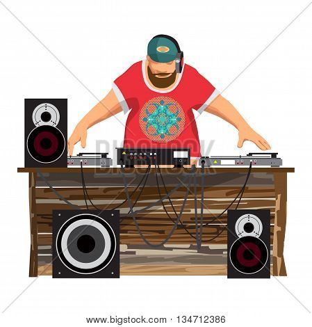 Summer party: DJ and his equipment dance music vector flat cartoon illustration on a isolated background. Set of loudspeakers subwoofer turntables a mixer for a disco on the beach.