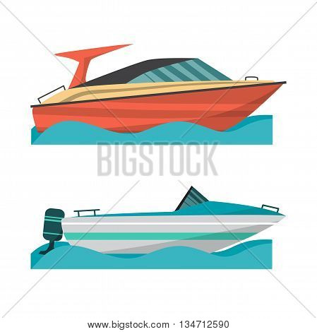 Set motor boat and small boat with outboard motor. Sea or river ship flat cartoon illustration. Sea and river vehicles. Isolated on white background