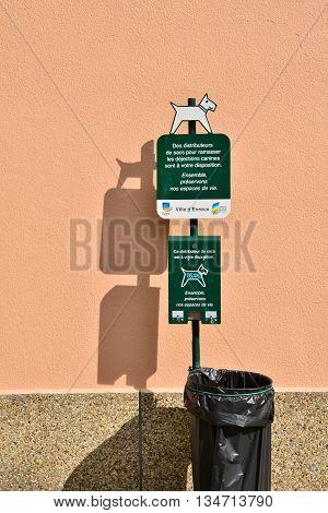 Evreux France - august 10 2015 : bag distributor for dog excrement