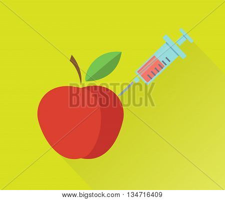 Genetic modification of apple concept. Vector illustration