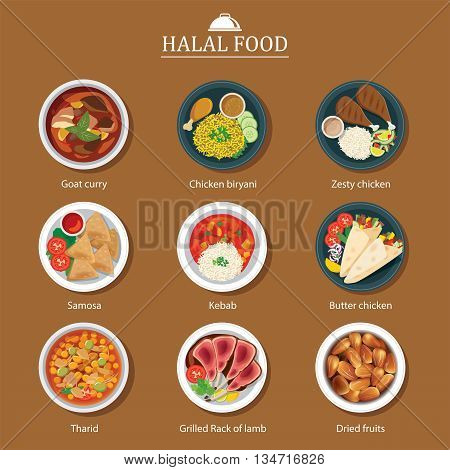 set of halal food flat design for web and print
