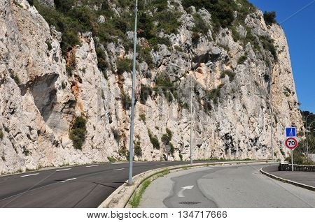 Eze France - april 19 2016 : the cliff road