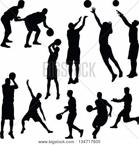 basketball player in different poses silhouette vector
