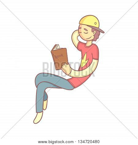 Giy Reading A Book Smiling Flat Outlined Pale Color Funny Hand Drawn Vector Illustration Isolated On White Background
