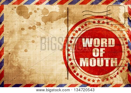 word of mouth, red grunge stamp on an airmail background