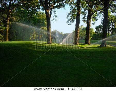 Sprinklers op golfbaan