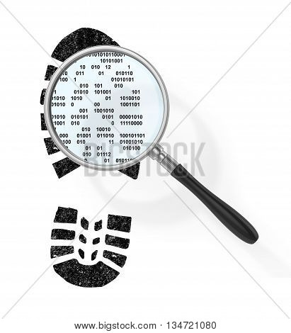 Concept of secure information. Magnifier over boot print in form of binary code in field of view magnifying glass. Find the hacker. 3d illustration