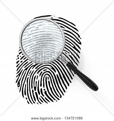 Magnifying glass over finger printlike shape made of binary code. 3d illustration