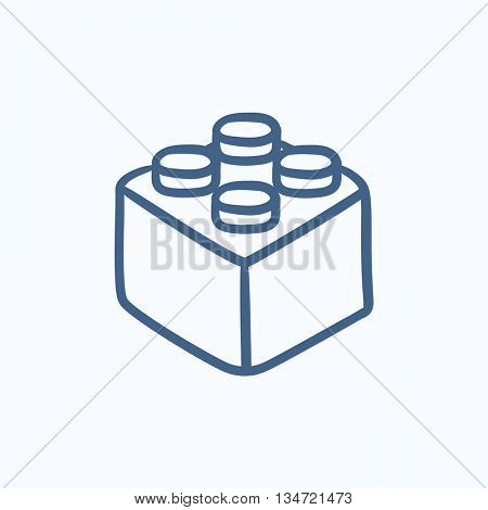 Building block vector sketch icon isolated on background. Hand drawn Building block icon. Building block sketch icon for infographic, website or app.