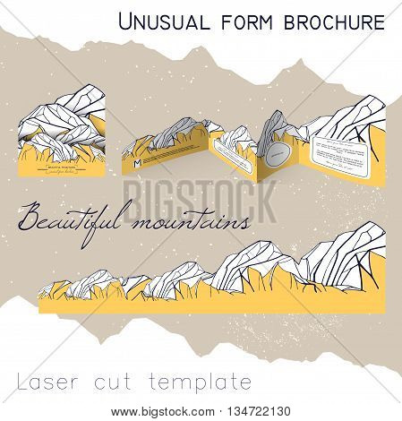 unusual form brochure. beautiful booklet in the shape of mountains. laser cutting template