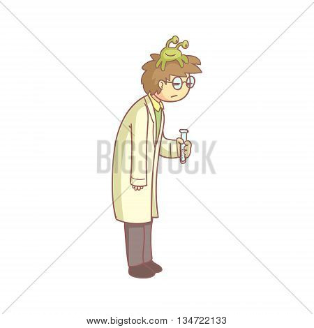 Scientist With A Lazy Monster On The Head Flat Outlined Pale Color Funny Hand Drawn Vector Illustration Isolated On White Background