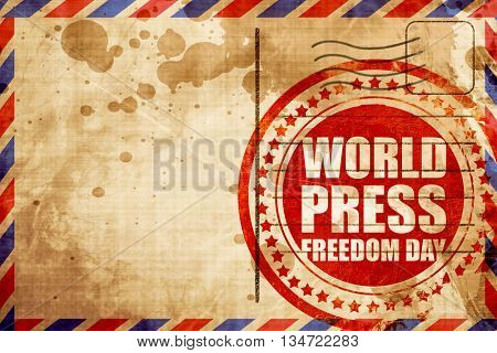 world press freedom day, red grunge stamp on an airmail backgrou