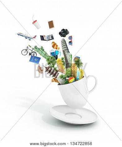 Travel concept. The most popular travel attractions with other objects flying from the cup of coffee. Dream to travel. 3d illustration