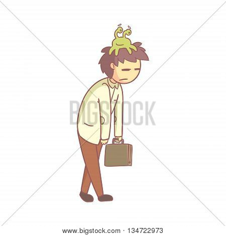 Man With Sloth Monster On The Head Shuffling To Work Flat Outlined Pale Color Funny Hand Drawn Vector Illustration Isolated On White Background