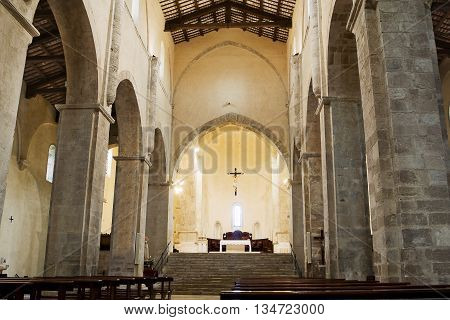 Interior of abbey of San Giovanni in Venere in Fossacesia (Italy)