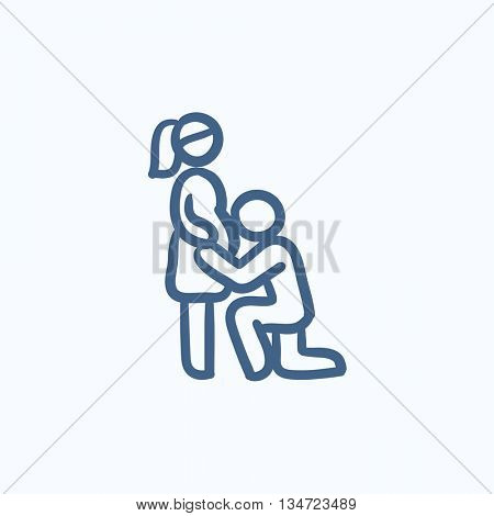 Man with pregnant wife vector sketch icon isolated on background. Hand drawn Man with pregnant wife icon. Man with pregnant wife sketch icon for infographic, website or app.
