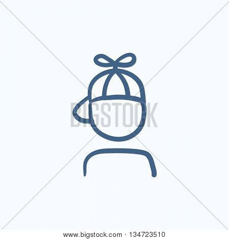 Boy in cap with propeller vector sketch icon isolated on background. Hand drawn Boy in cap with propeller icon. Boy in cap with propeller sketch icon for infographic, website or app.