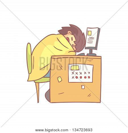 Office Worker Sleeping At Work Wrapped In Blanket Flat Outlined Pale Color Funny Hand Drawn Vector Illustration Isolated On White Background