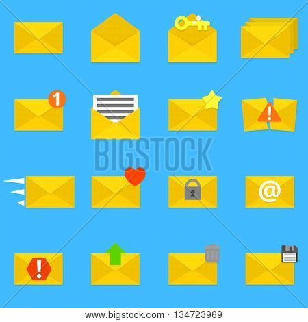 Collection of sixteen detailed envelope icons. Vector, eps 10.