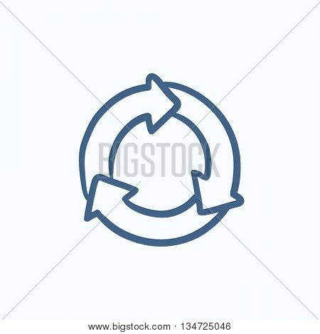 Arrows circle vector sketch icon isolated on background. Hand drawn Arrows circle icon. Arrows circle sketch icon for infographic, website or app.