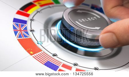 Hand turning a selection knob with many different flags around it. Concept of languages and multilingual support. Composite image between a photography and a 3D background.