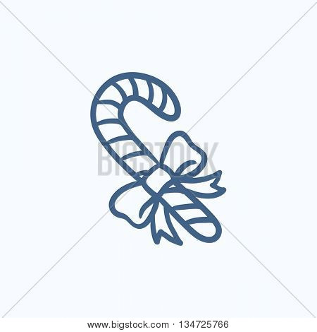 Candy cane with christmas decoration vector sketch icon isolated on background. Hand drawn Candy cane with christmas decoration icon. Candy cane sketch icon for infographic, website or app.