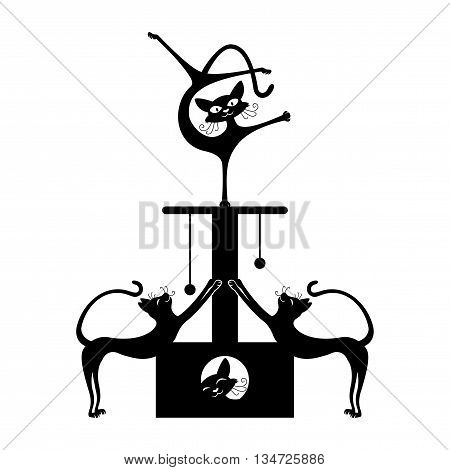 Illustration of funny cats acrobats on a white background.