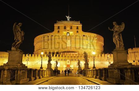 night view of Castel Sant Angelo, Rome Italy