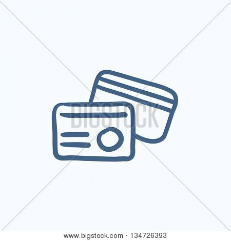 Identification card vector sketch icon isolated on background. Hand drawn Identification card icon. Identification card sketch icon for infographic, website or app.